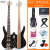 オリス(OLICE)電気ベース4弦5弦ベースセット初心者演奏専門のベースベースベースベースギター楽器はスピーカーB-2一体の電気ベースに乗ることができます。ブラック5弦プレゼントします。